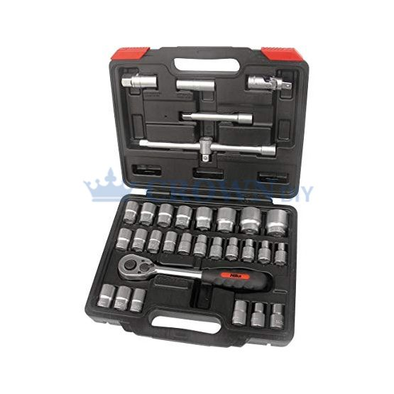 Hilka 32 Piece Half Inch Drive Ratchet Socket Set 8-32mm Metric Kit | 01123202