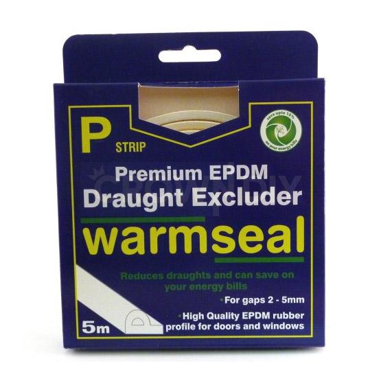 Warmseal Premium 5m White EPDM P Strip Profile Weather & Draught Seal Foam
