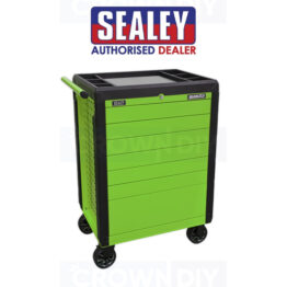 Sealey APPD7G High Visibility Green Tools Trolley 7 Push Open Drawer Rolling Cabinet Tool Box
