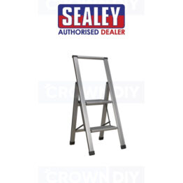 Sealey APSL2 Aluminium Folding Small Step Ladder 2 Step Safety Grip 150kg Capacity