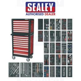 Sealey APTTC02 14 Drawer Topchest & Rollcab Tools Garage Cabinet + 1231pc Tool Kit