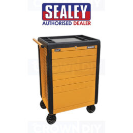 Sealey APPD7O Tools Trolley 7 Push Open Drawer Roller Cabinet Tool Box Orange